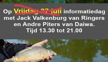 De informatiedag die Hengelsport Kruidenier georganiseerd had voor vrijdag 27 juliwordt vanwege de warmte uitgesteld tot in september!