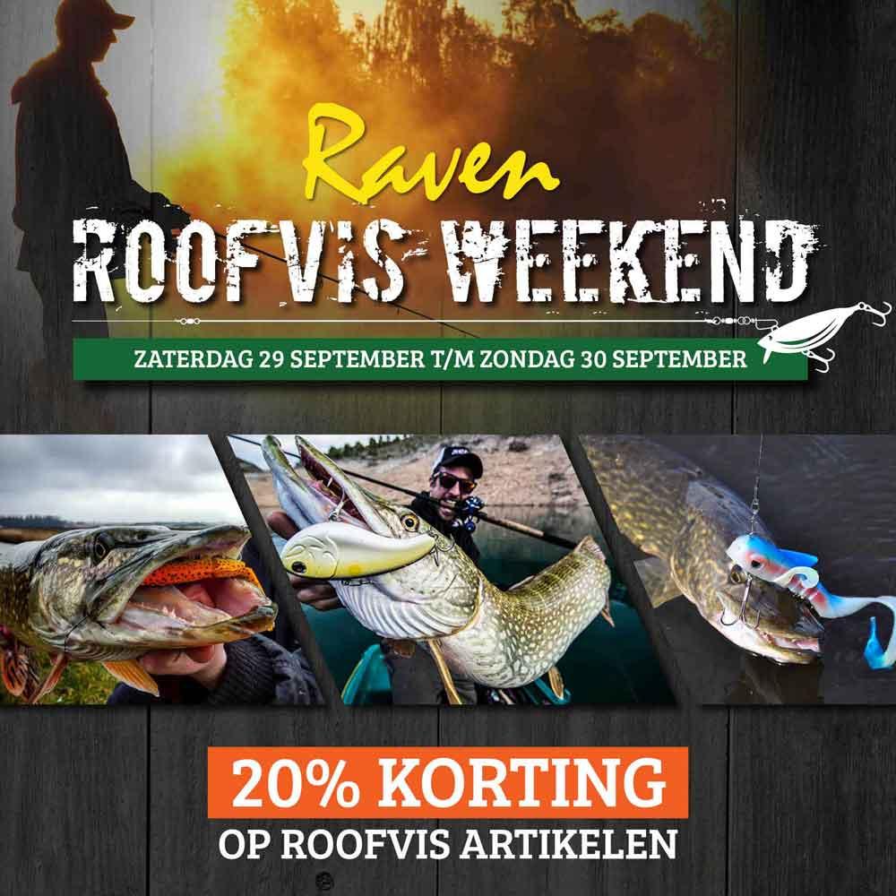 Dit weekend profiteer je van 20% korting op vrijwel alle roofvisartikelen bij Raven Hengelsport!
