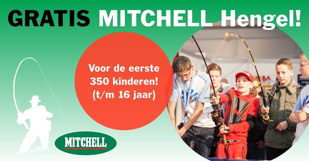 Elke beursdag van 30 november t/m 2 december 2018 krijgen de eerste 350 kinderen t/m 16 jaar een gratis Mitchell hengel.