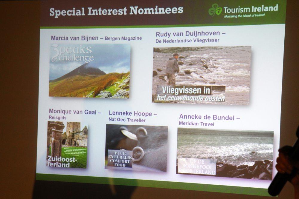In elk van de vijf categorieën waren vijf artikelen of blogs genomineerd voor een award. In de categorie 'special interest' o.a. een artikel van Rudy van Duijnhoven in De Nederlandse Vliegvisser over het vliegvissen in het historische oosten van Ierland.