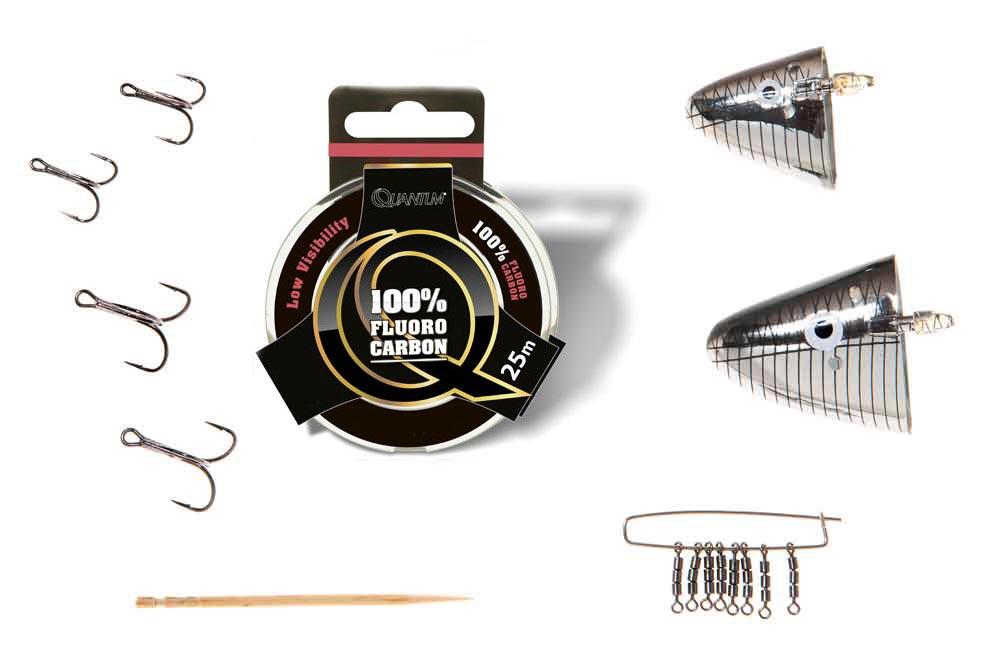 Noodzakelijke onderdelen voor een takel voor het slepend vissen met een dode aasvis: 'Baitholder' (middel en groot), dreggen maat 2 en 4, fluorocarbon 80 lb (minimaal 80/00) , drievoudige wartel, tandenstoker.