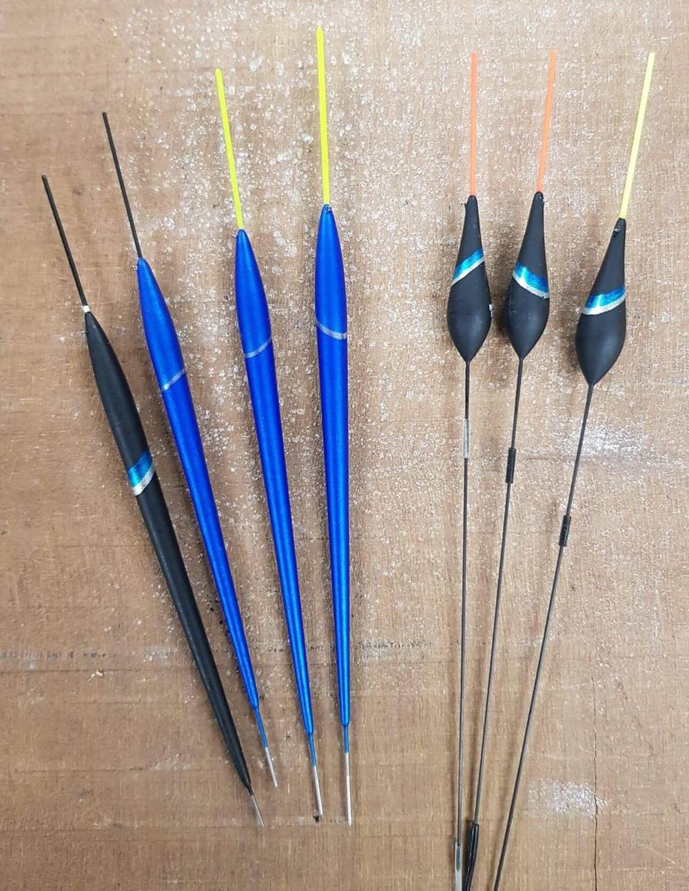 De dobbers die ik gebruik zijn vaak de rechte pennetjes met een draagvermogen van 1 tot en met 3 gram (zie foto).