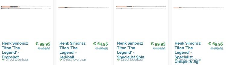 Voor hengels zijn er zeer interessante kelderprijzen...