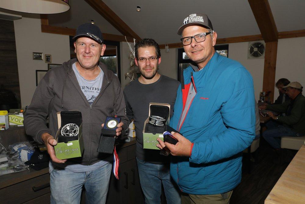 De nummer 1, team C. Poortvliet / J. Arens, met 14 vissen en 46,5 punten.