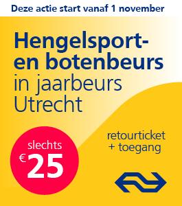 Wil jij graag met de trein naar de Hengelsport- en Botenbeurs? Bestel dan een combinatie ticket (entree + retour treinticket) voor € 25,- via spoordeelwinkel.nl.
