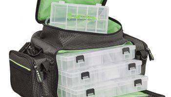 De Iron-T Box Bag Front Perch Pro van Gunki heeft een groot hoofdvak aan de voorzijde, met drie kunstaasboxen van 27,5 x 13,5 x 4 cm.